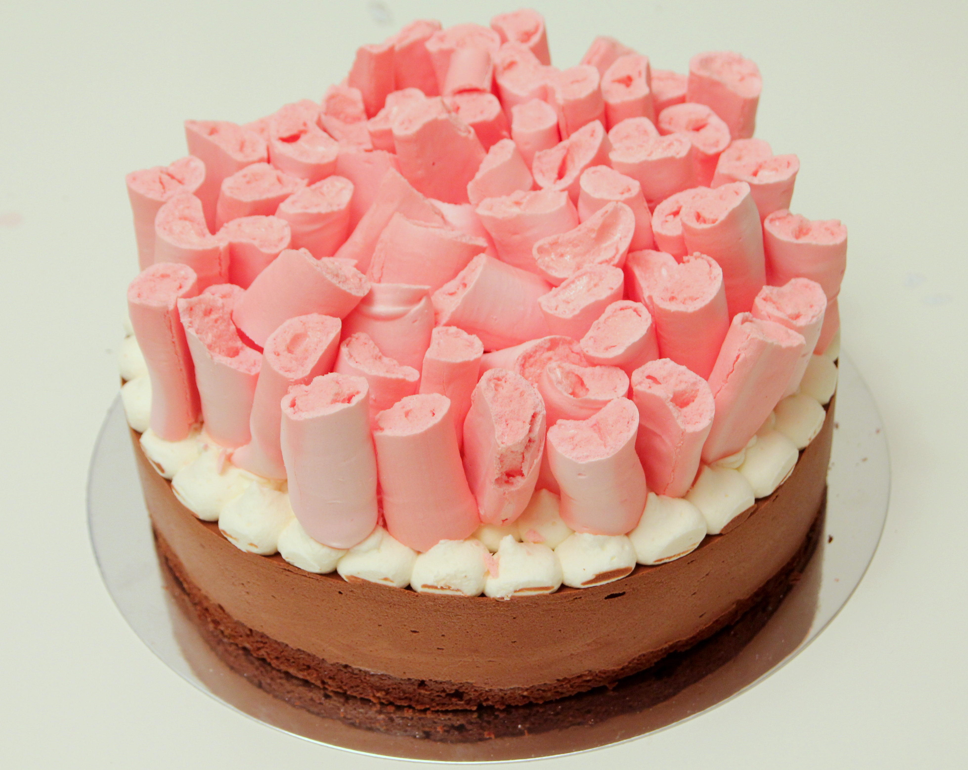 Chocolate Mousse Cake with Pink Meringue