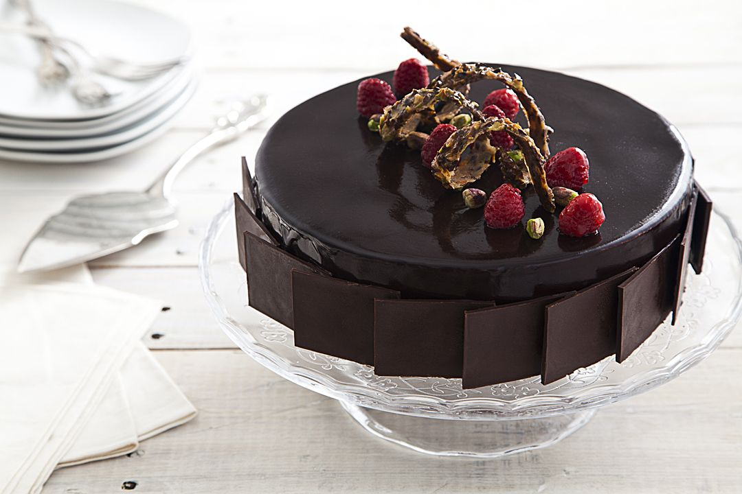 Pistachio and Raspberry Chocolate Mousse Cake