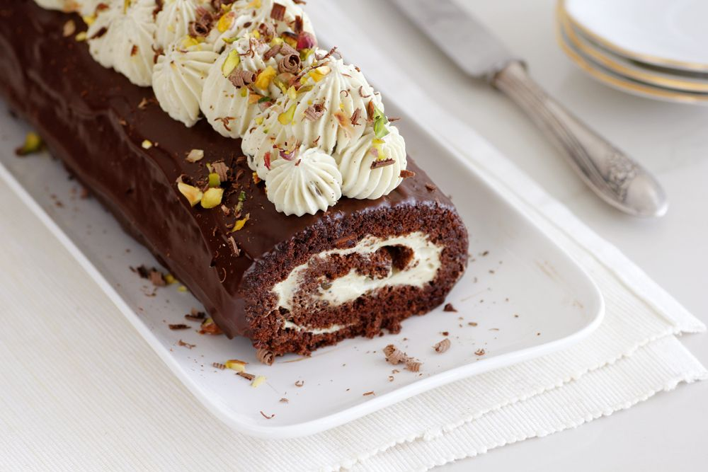Gluten Free Chocolate Cake Roll with Pistachio Cream