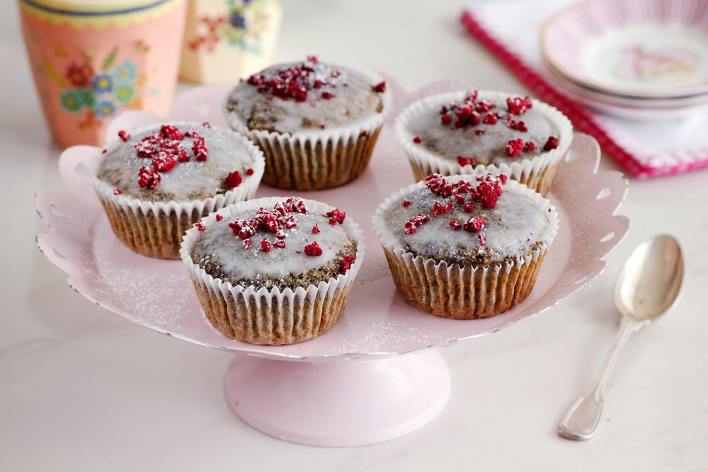 Raspberry Poppy Seeds Muffins with Chia