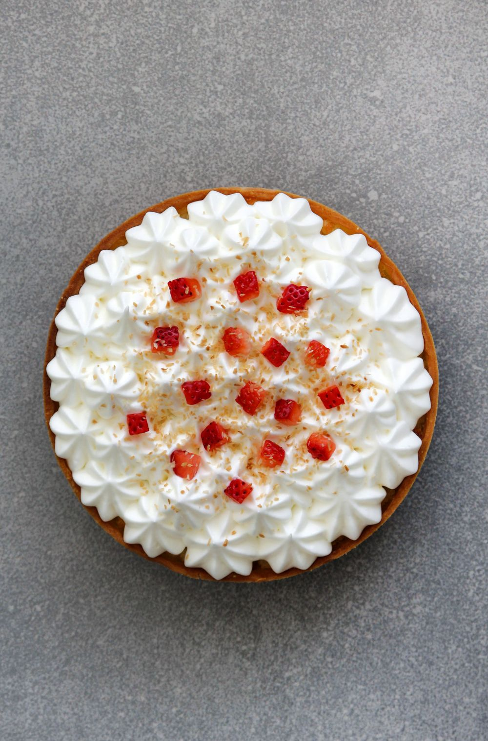 Coconut Tart with Strawberries and Rose Water