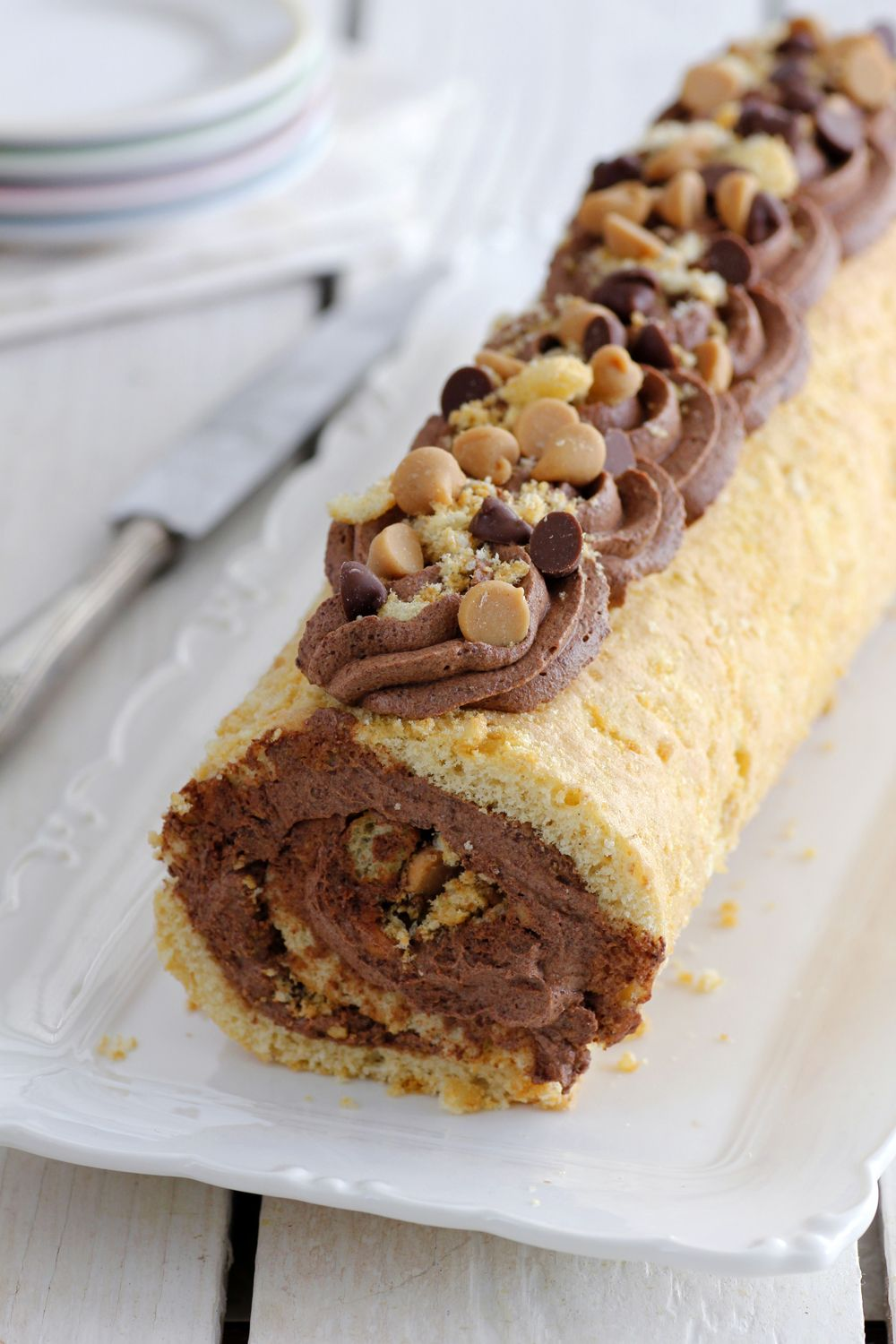 Peanut Butter Cake Roll with Chocolate Filling