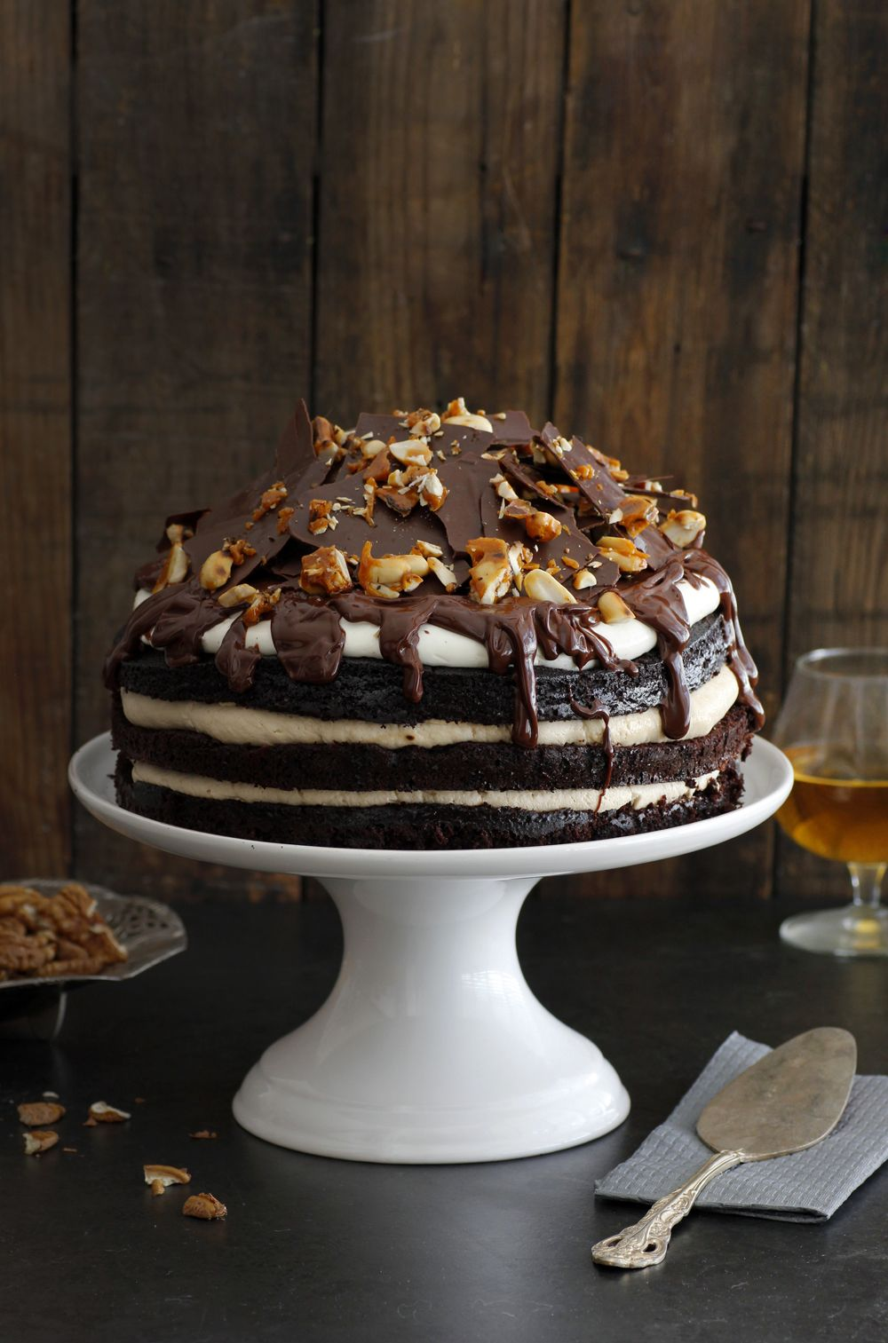 Whiskey and Coffee Chocolate Layer Cake