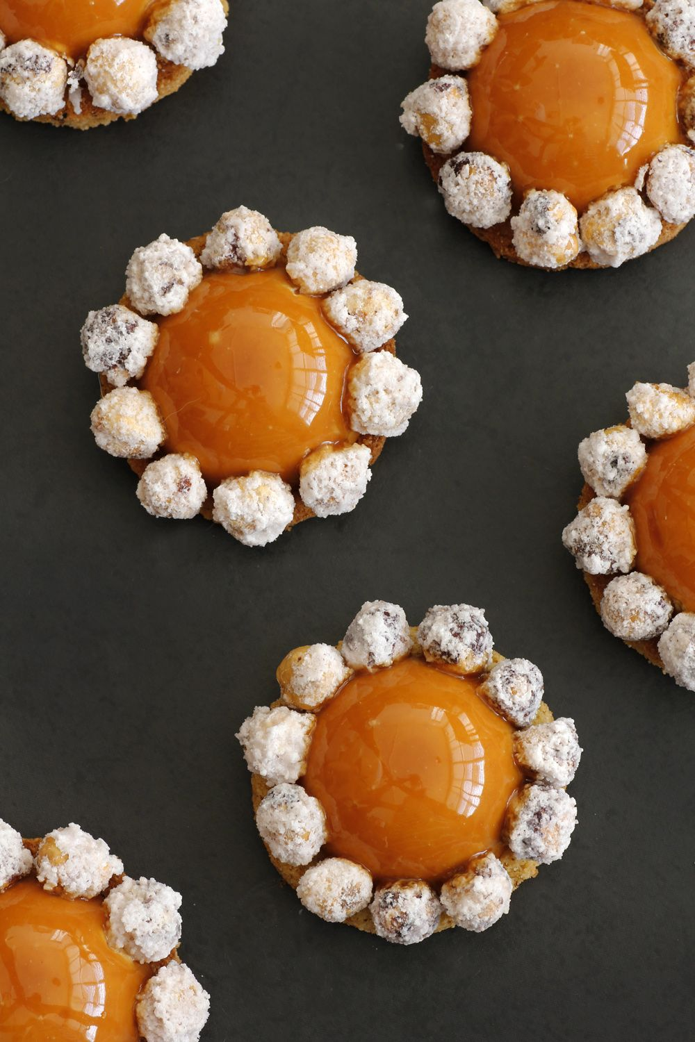 Caramel Mousse Domes with Candied Hazelnuts
