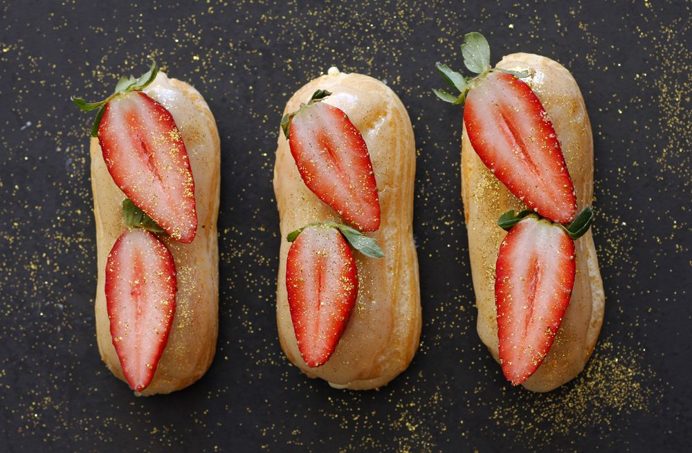 Strawberry and Champagne Eclairs