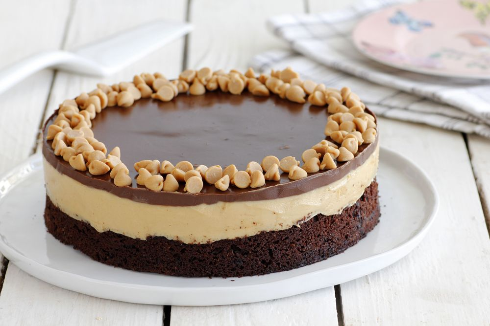 Coffee Chocolate Cake with Peanut Butter Cream