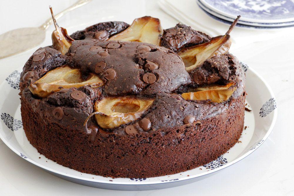 Pecan Chocolate Cake with Pears