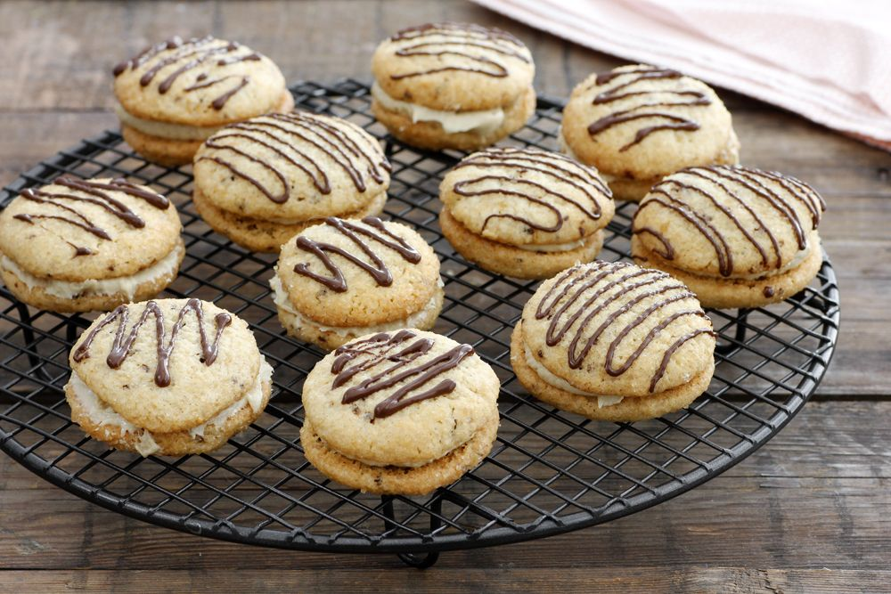 Coffee Sandwich Cookies filled with Halva