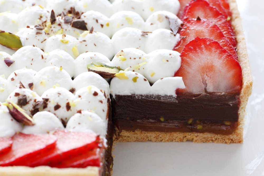 Salted Caramel Chocolate Pie with Pistachio and Strawberry