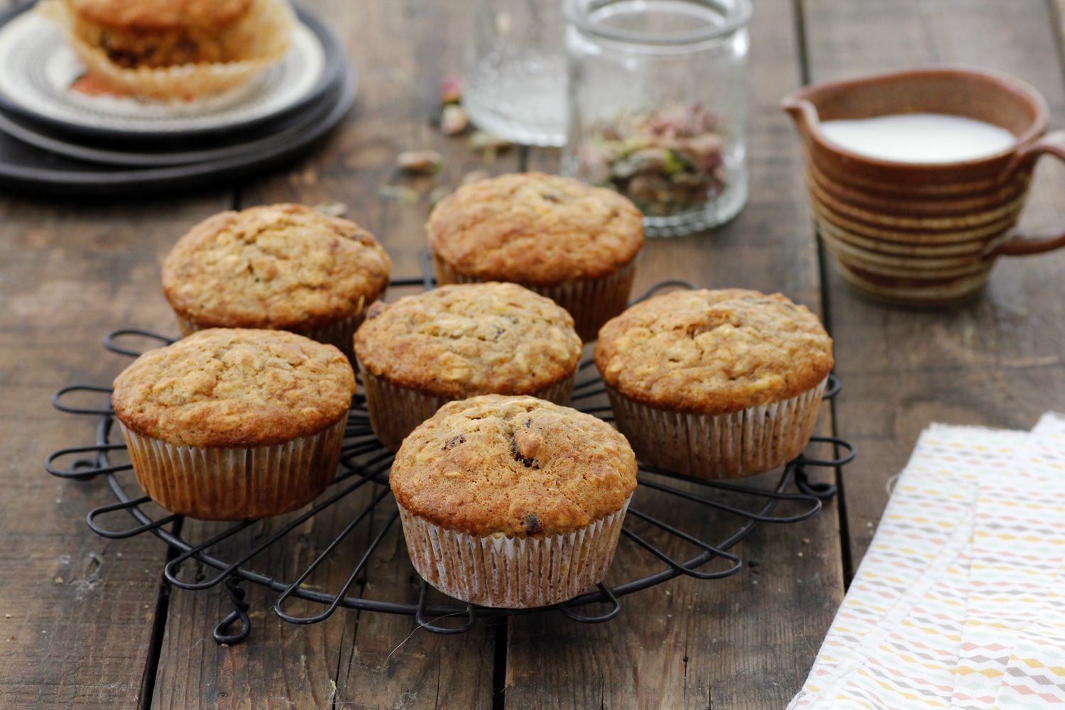 Whole Wheat Banana Muffins with Oats and Cranberries