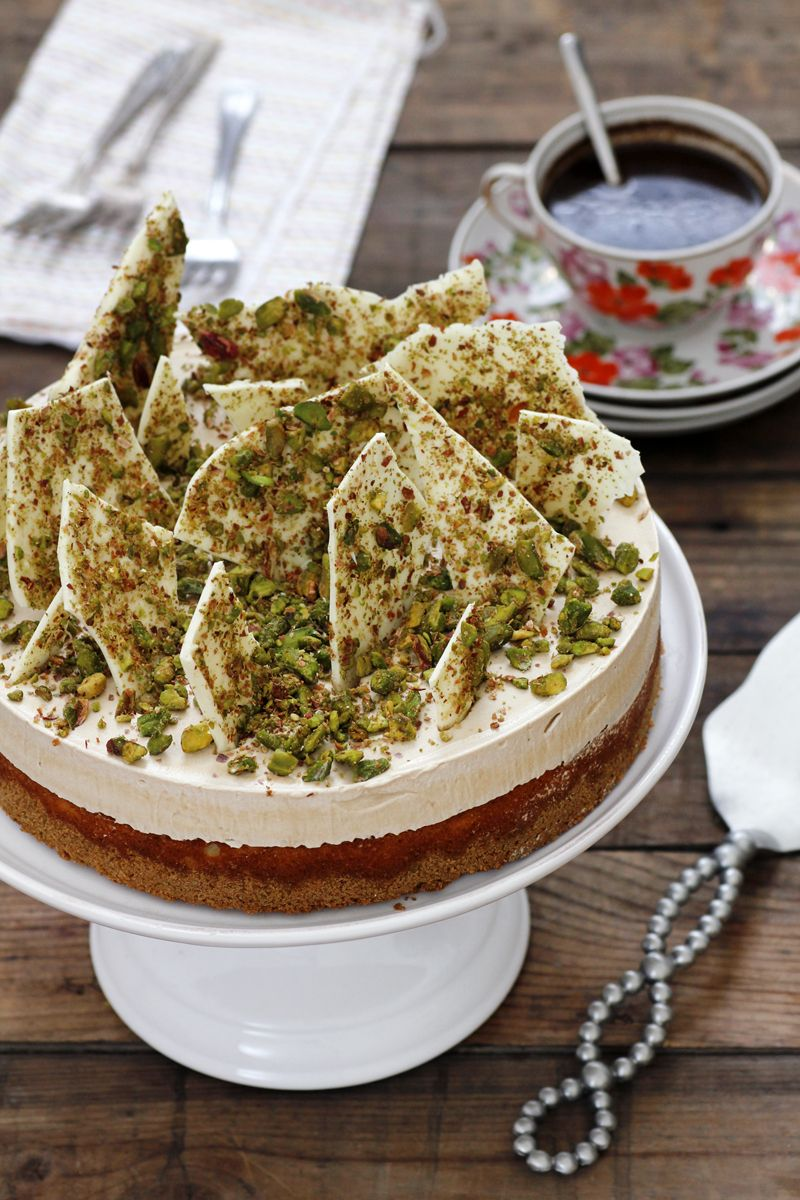 White Chocolate Cake with Coffee Cream and Pistachio