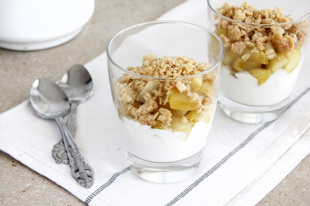 Yogurt Cream Parfaits with Apples and Almond Streusel