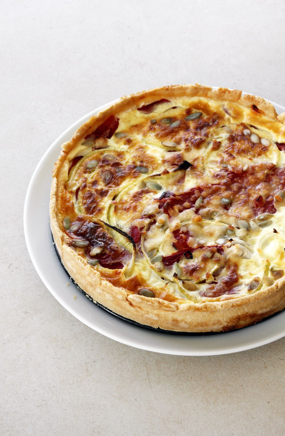Goat Cheese Quiche with Roasted Bell Peppers