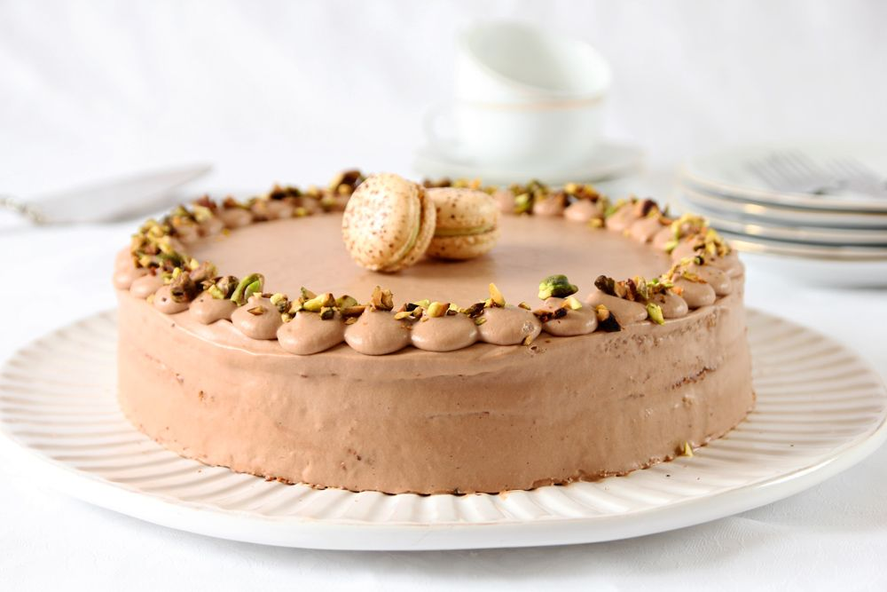 Gluten Free Pistachio Cake filled with Chocolate Cream and Espresso
