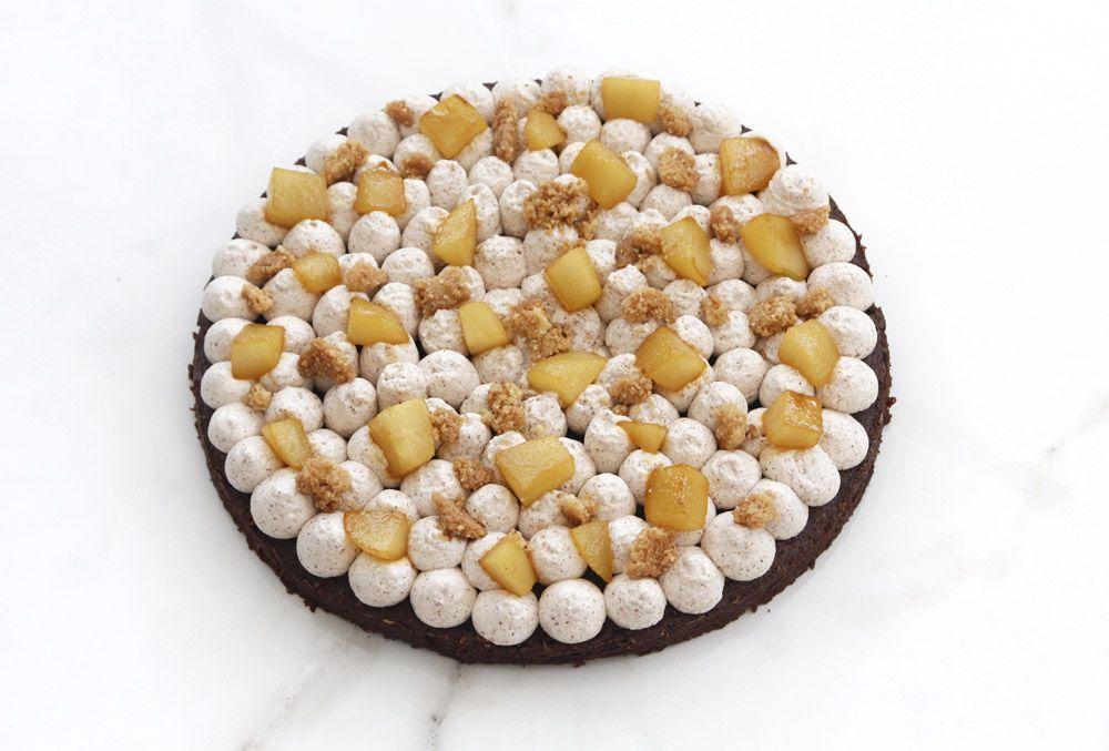 Chocolate and Cinnamon Brownie Cake with Hazelnut and Pears
