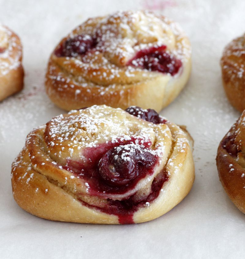 Cherry, Maple and Almond Rolls