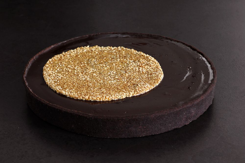 Chocolate Tart with Sesame and Caramel