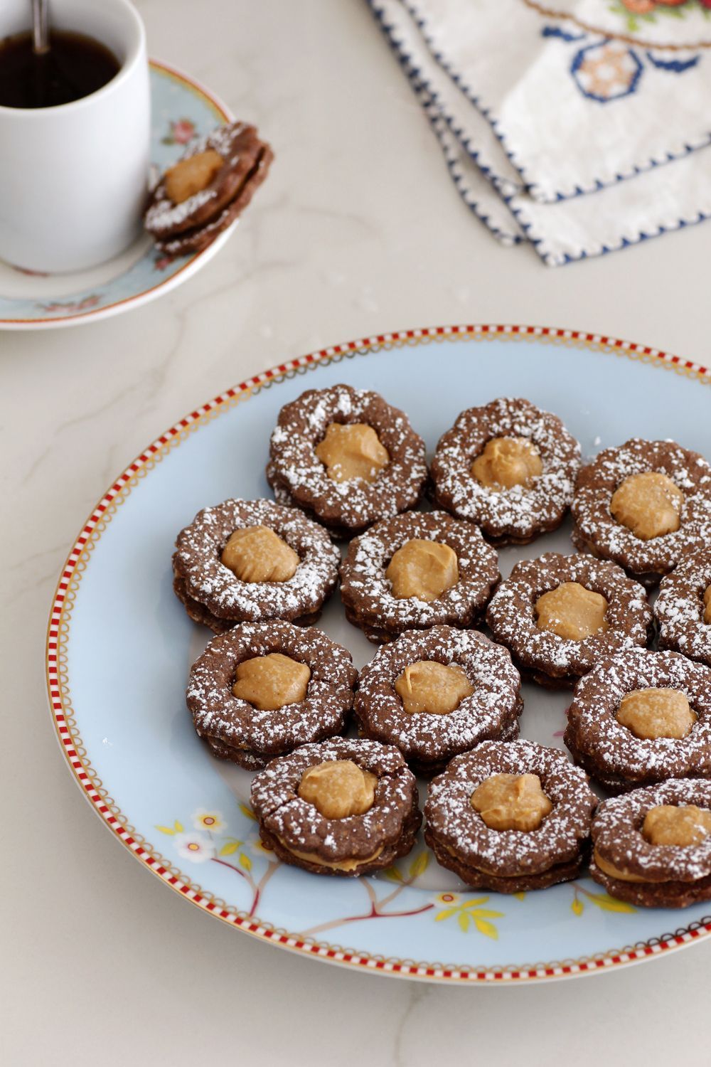 Gluten Free Chocolate and peanut Butter Sandwich Cookies