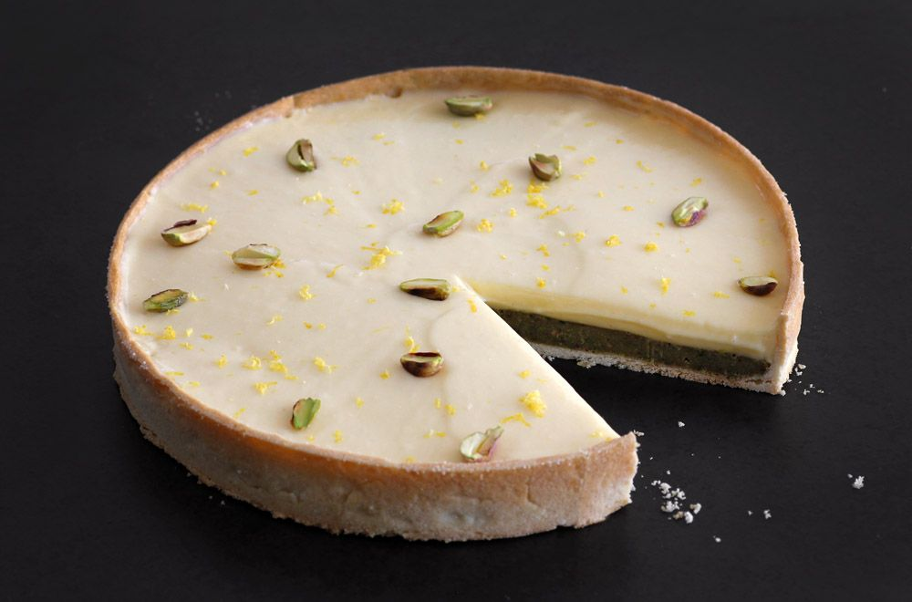 Pistachio Lemon Tart with Basil