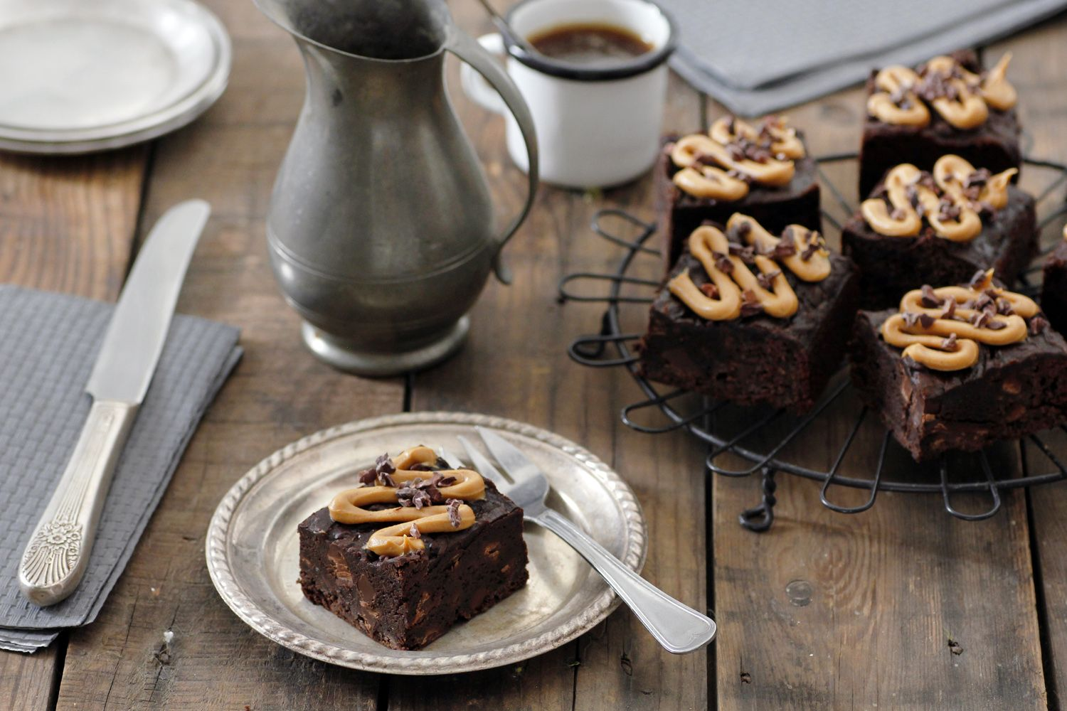 Vegan Brownies with Chocolate and Peanut Butter