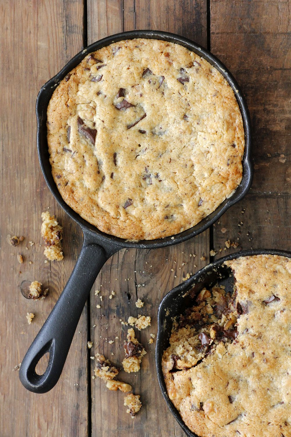 Giant Chocolate Chip Cookie in a Pan with Peanut Butter and Walnuts