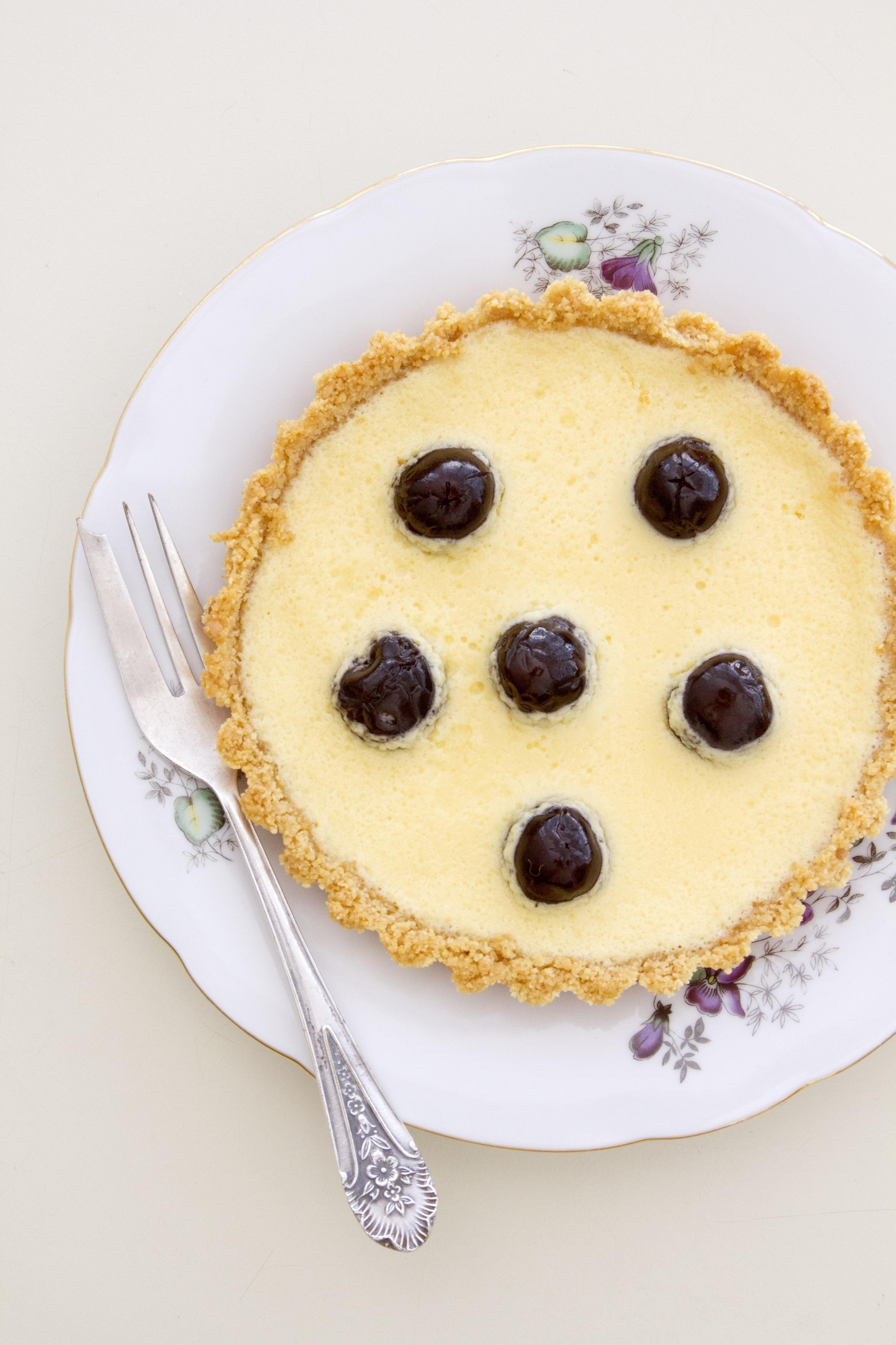 Key Lime Pie with Amrena Cherries
