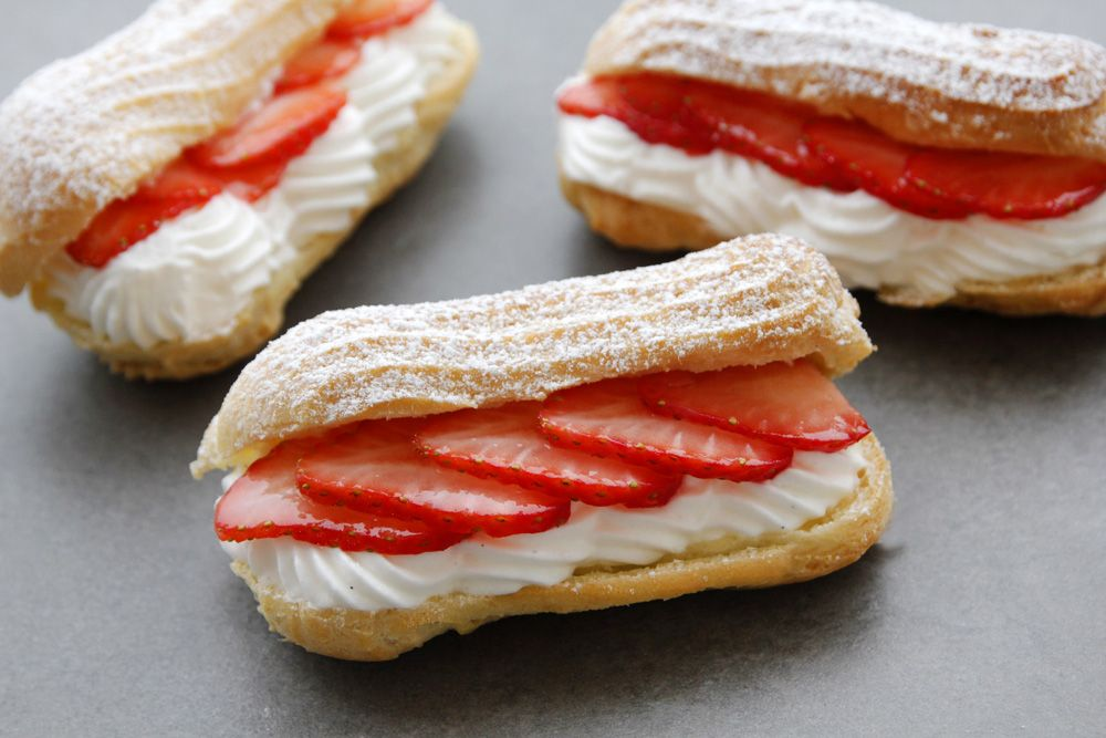 Strawberry and Cream Eclairs