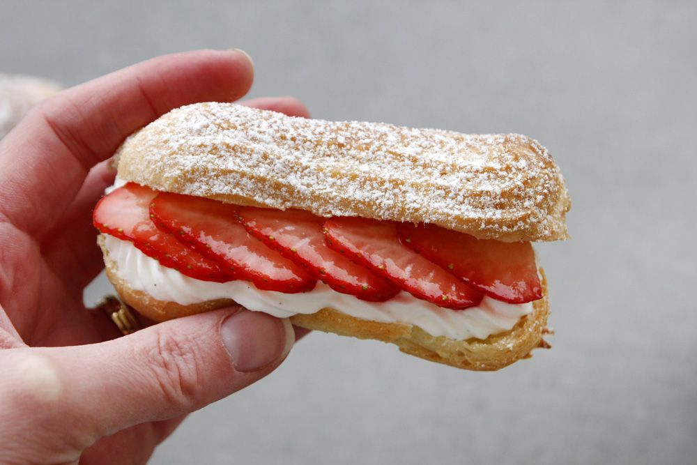 Strawberry Eclairs with Whipped Cream