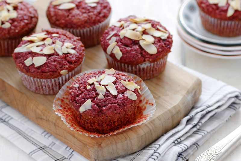 Vegan Beet and Almond Muffins