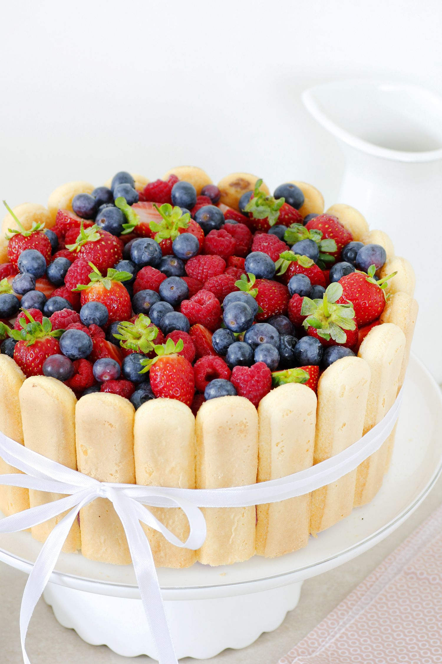 Chocolate and Vanilla Charlotte Cake with Berries