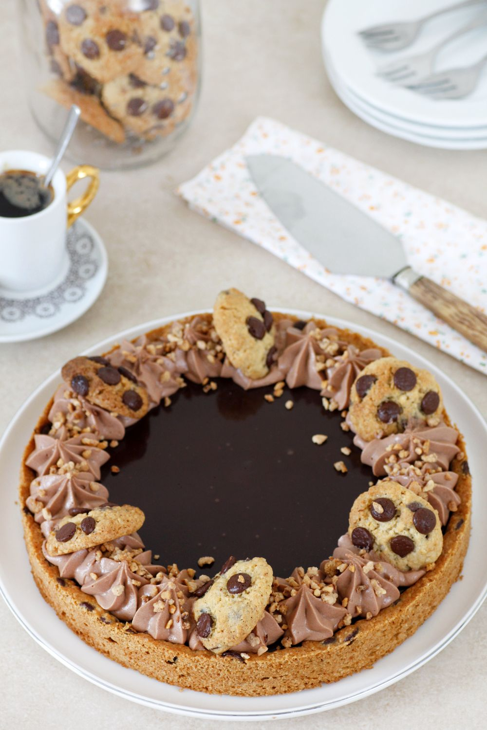 Chocolate Chip Cookie Nutella Pie