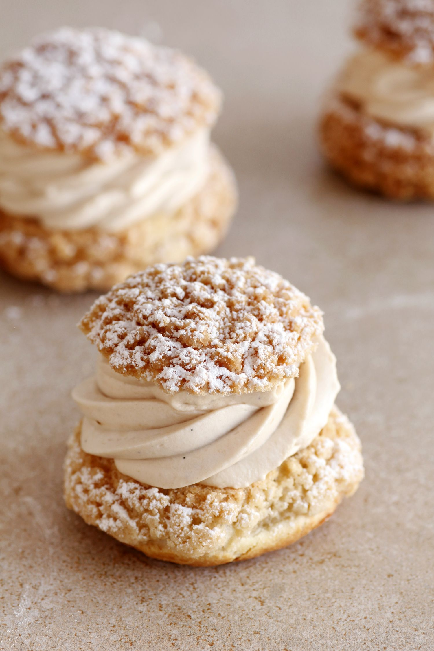 Almond, Chocolate and Coffee Cream Puffs