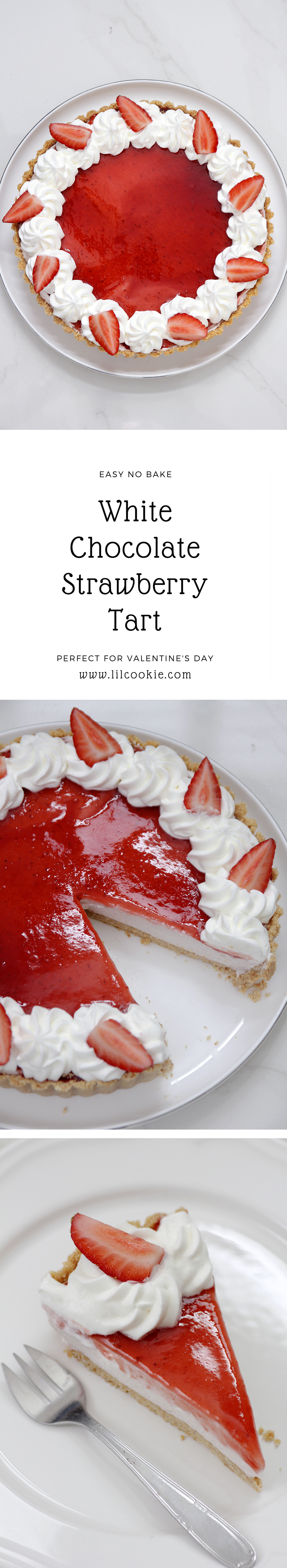 White Chocolate Strawberry Tart #strawberry #tart #pie #baking #recipe #whitechocolate #valentinesday #dessert #cake