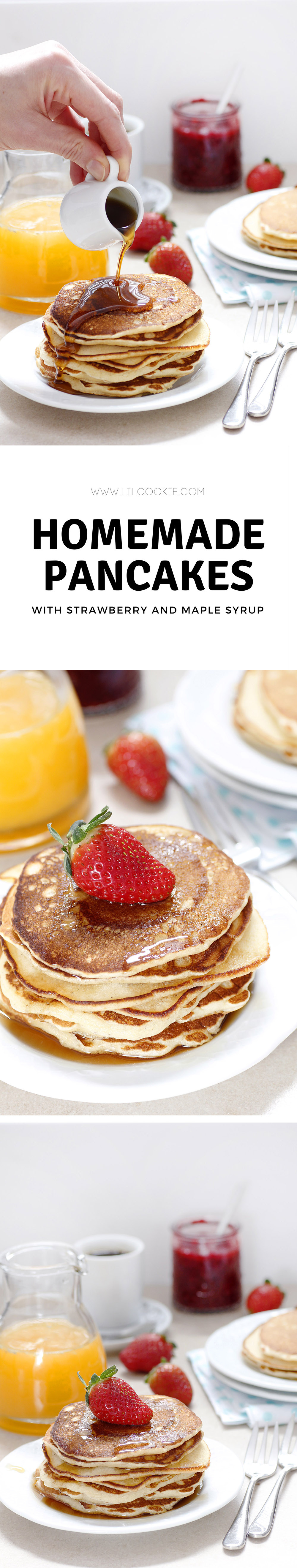 Homemade Pancakes #recipe #baking #breakfast #maple #strawberry #weekend #delicious