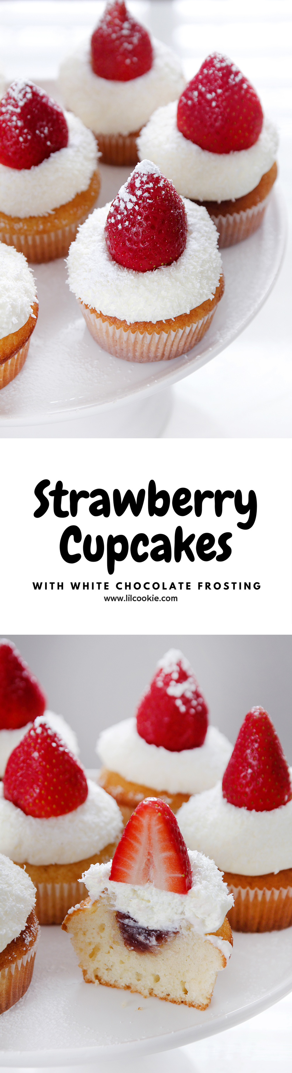 Strawberry Cupcakes with White Chocolate Frosting #strawberry #cupcakes #baking #recipe #whitechocolate #valentinesday