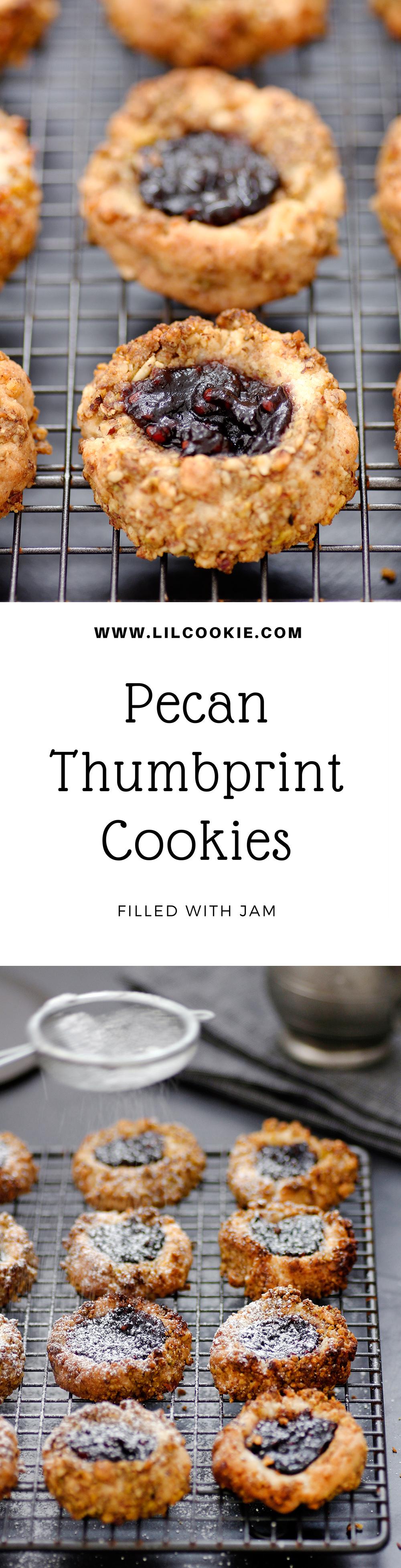 Pecan Thumbprint Cookies with Jam Filling