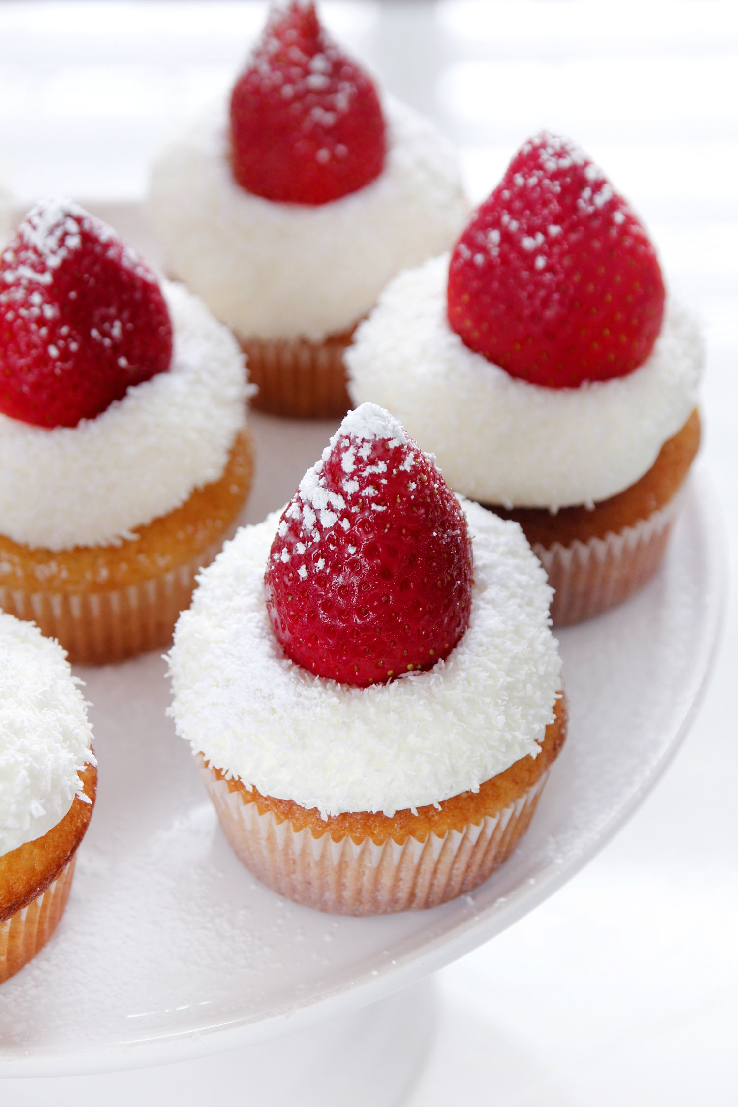 Strawberry Cupcakes with White Chocolate Frosting