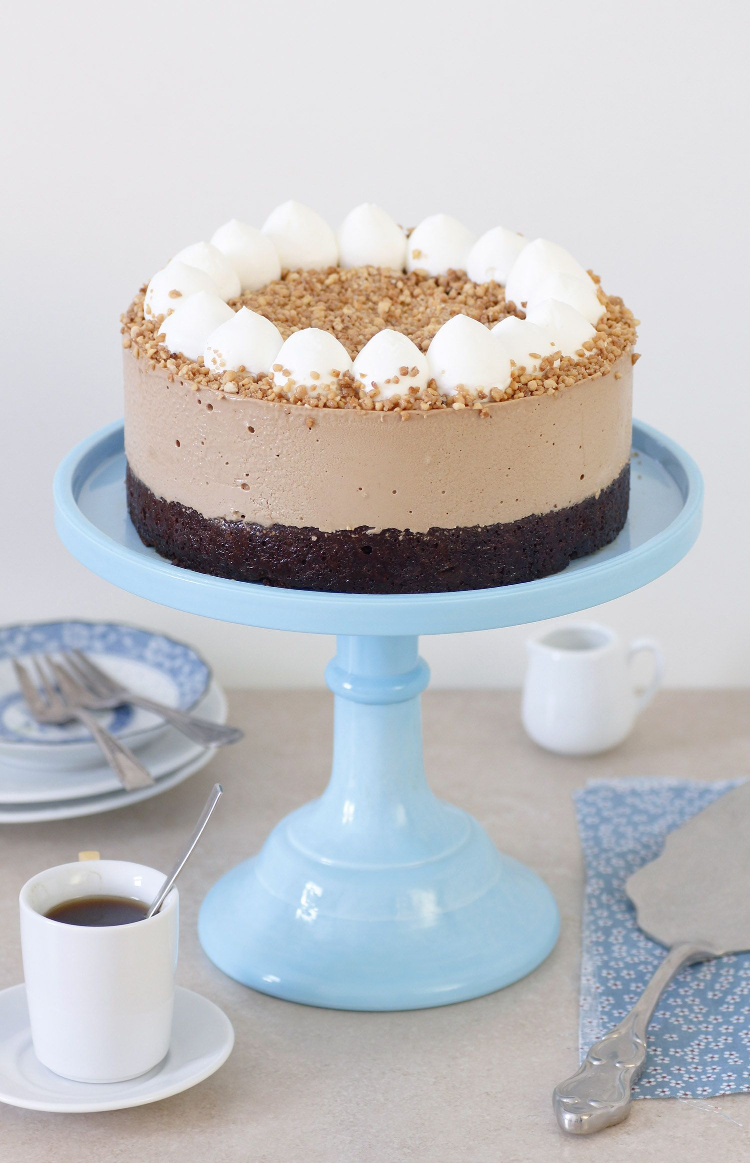 Coffee Mousse Cake with Chocolate and Hazelnuts