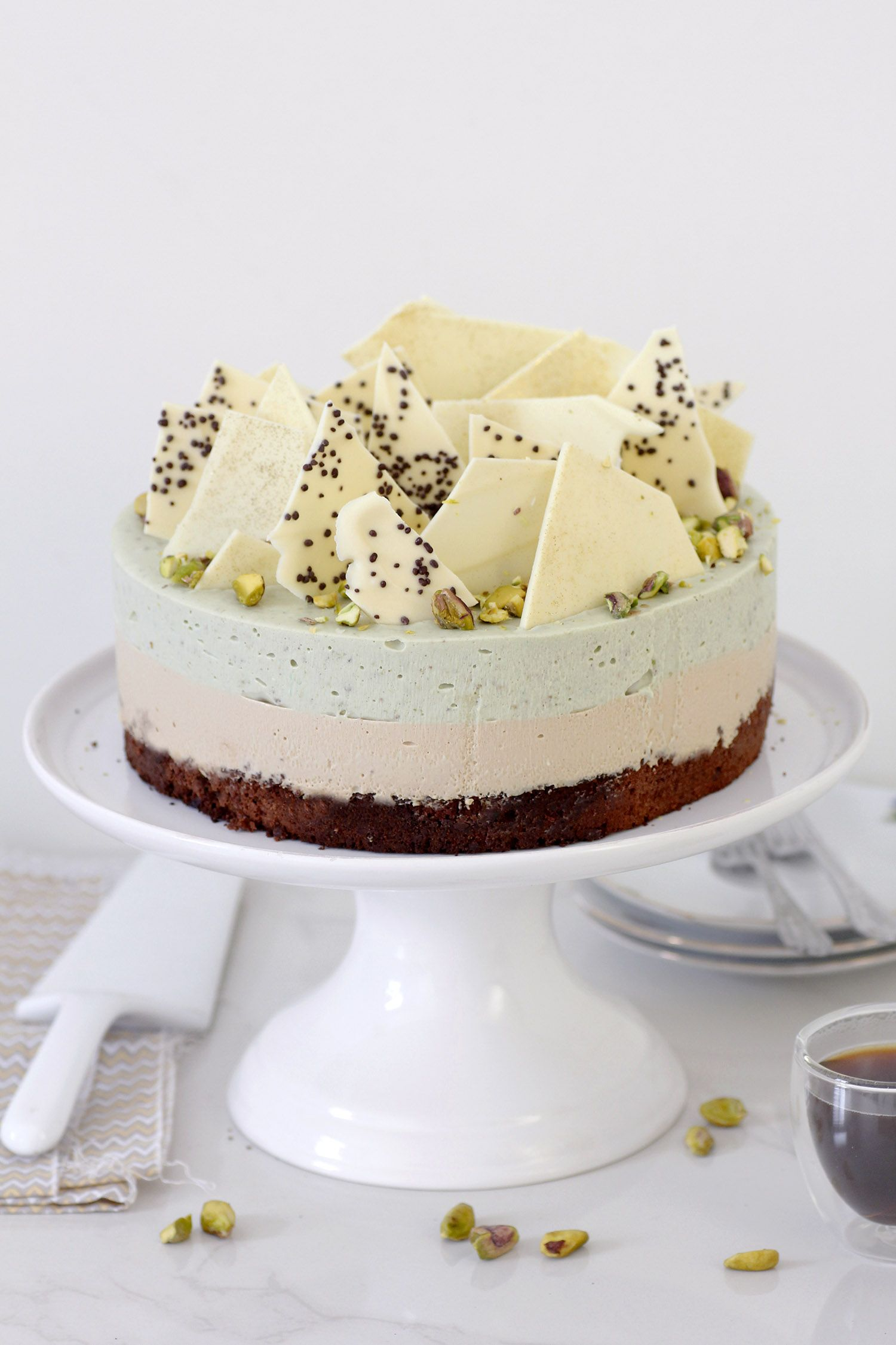 Pistachio Mousse Cake with Coffee and Chocolate Brownies