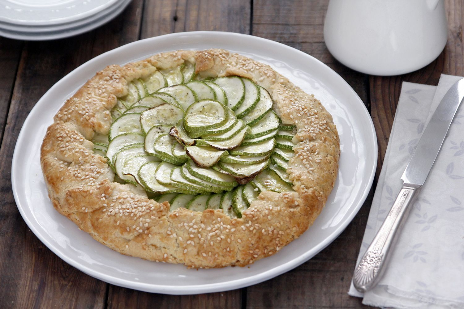 Cheese and Pesto Zucchini Galette